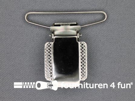 Bretelclips 36mm chroom zilver