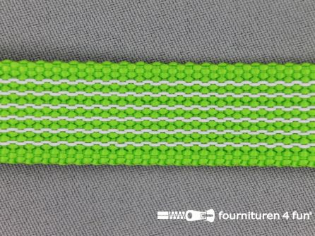 Rubber halsband 20mm lime groen / wit