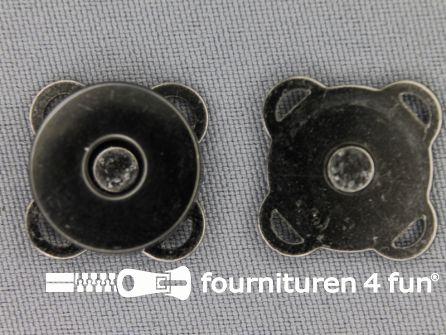 Magneet knopen 19mm zwart zilver per stuk