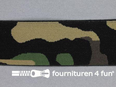 Elastiek camouflage 40mm legergroen bruin