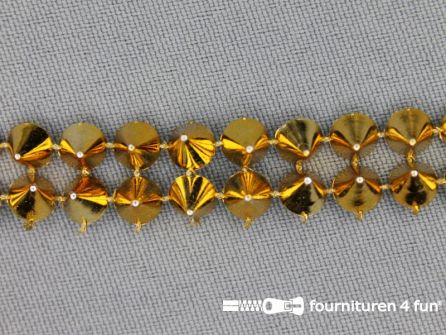 Strass band 12mm spikes goud
