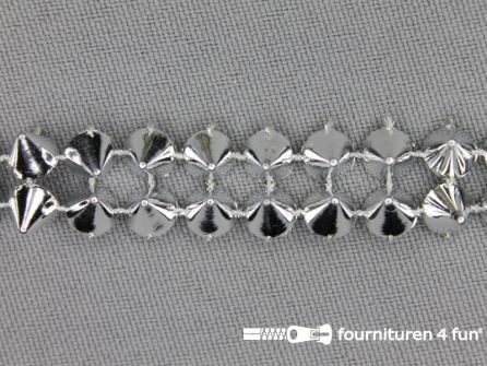 Strass band 12mm spikes zilver