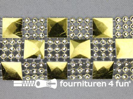 Strass band 35mm vierkantjes - rondjes goud