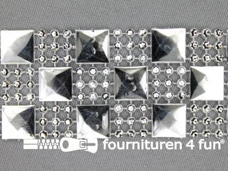 Strass band 35mm vierkantjes - rondjes zilver