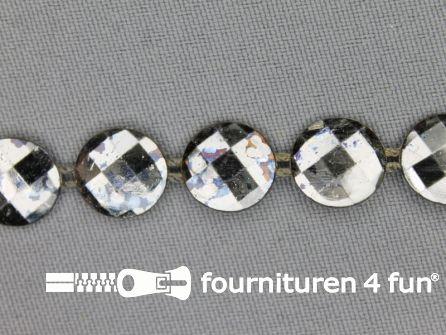 Strass band 12mm rondjes zwart zilver