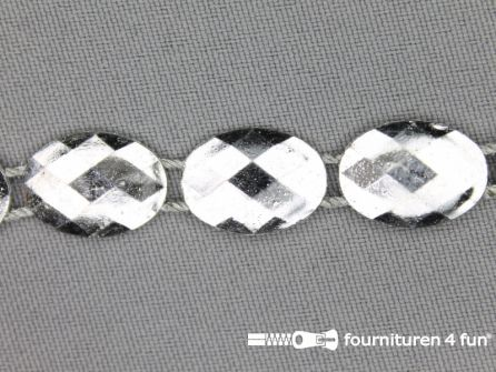 Strass band 12mm ovaal zilver