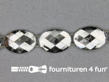 Strass band 12mm ovaal zwart zilver