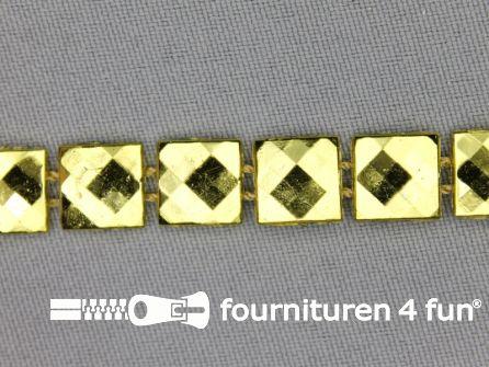 Strass band 10mm vierkant goud
