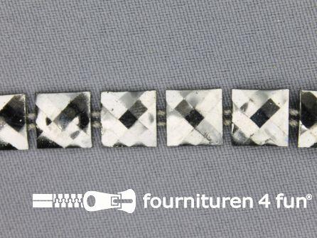 Strass band 10mm vierkant zwart zilver