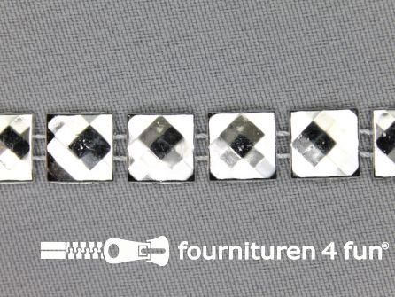 Strass band 10mm vierkant zilver