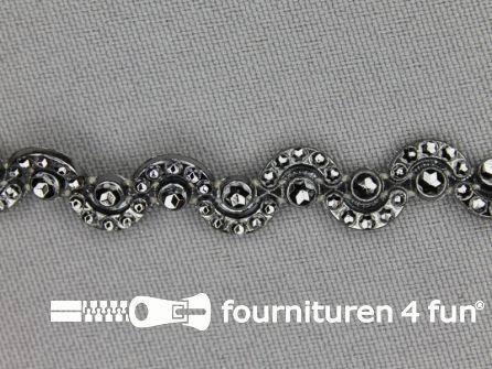 Strass band 10mm halve cirkels zwart zilver