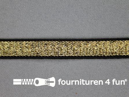 Gekleurd elastiek 10mm goud - zwarte rand