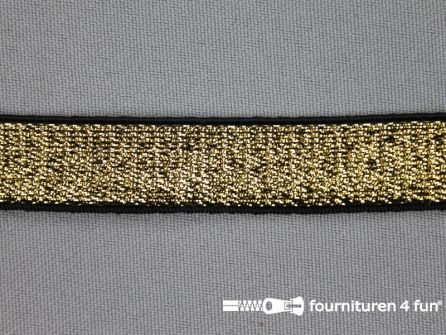 Gekleurd elastiek 15mm goud - zwarte rand