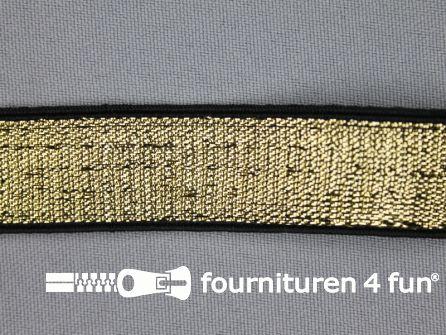 Gekleurd elastiek 20mm goud - zwarte rand