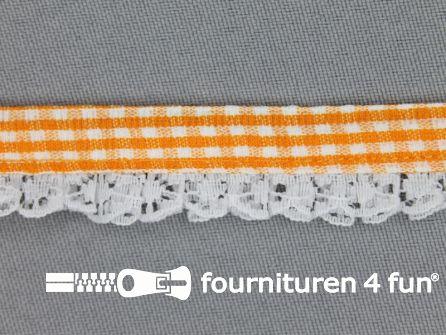 Ruitjes kant plisse 15mm oranje