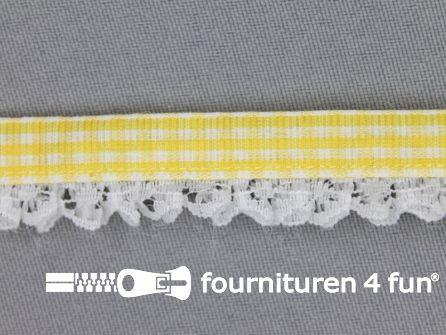 Ruitjes kant plisse 15mm geel