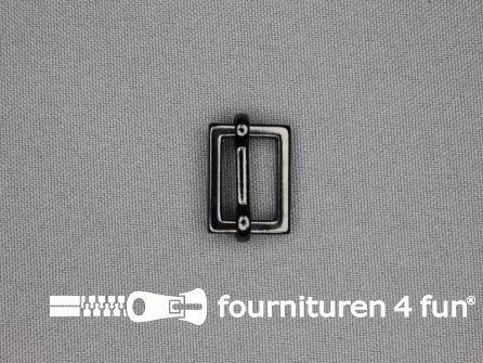 Schuifgesp 15mm zwart zilver