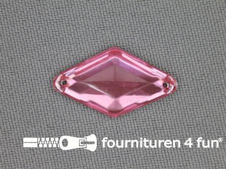 10 stuks Strass steen 14x25mm ruit licht roze