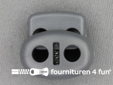 Koord stopper 22mm dubbel grijs
