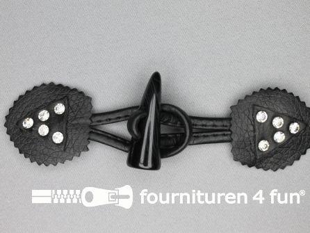 Skai houtje touwtje 50x170mm strass zwart