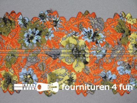 Jacquard band 125mm multicolor - oranje blauw