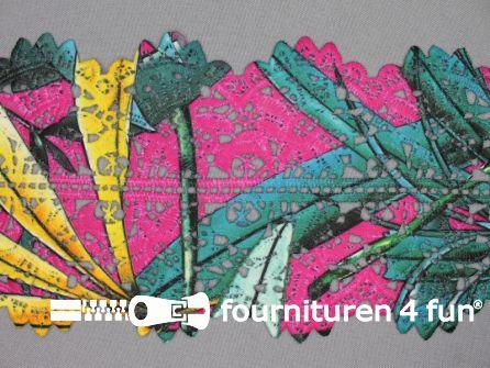 Jacquard band 125mm multicolor - fuchsia turquoise