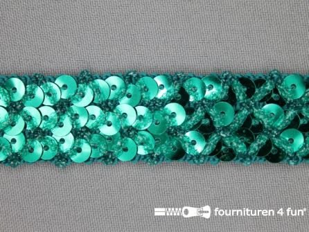 Pailletten band 20mm zee groen met ruitjes draad
