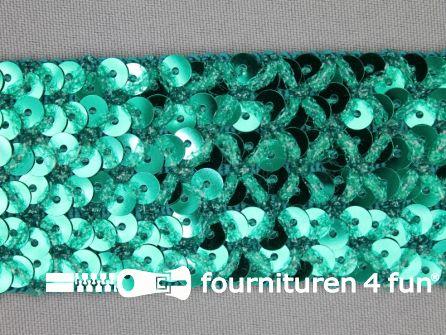 Pailletten band 40mm zee groen met ruitjes draad