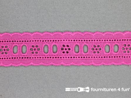 Broderie kant entredeux 30mm fuchsia roze