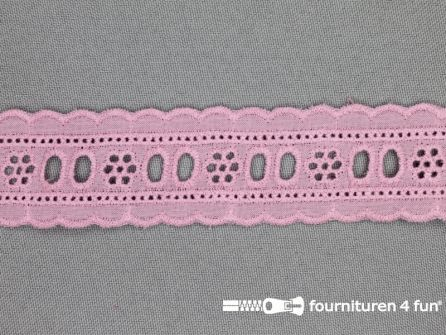 Broderie kant entredeux 30mm oud roze
