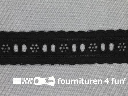 Broderie kant entredeux 30mm zwart
