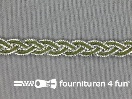 Gevlochten band 7mm olijf groen - zilver