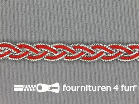 Gevlochten band 7mm rood - zilver