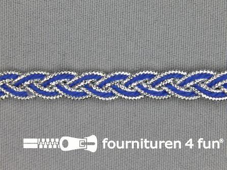 Gevlochten band 7mm kobalt blauw - zilver
