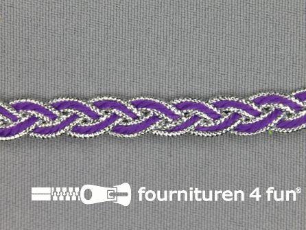 Gevlochten band 7mm paars - zilver