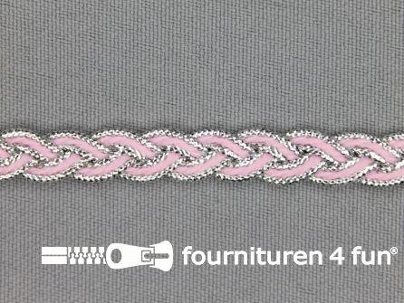Gevlochten band 7mm licht roze - zilver