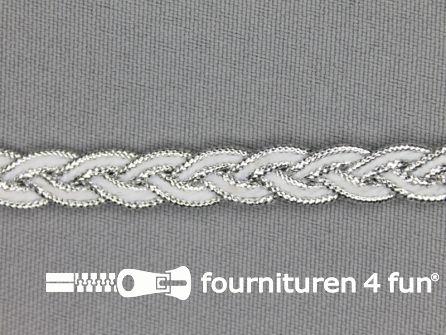 Gevlochten band 7mm wit - zilver