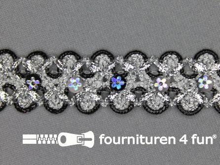 Pailletten band 25mm zilver - zwart