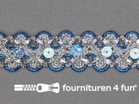 Pailletten band 25mm zilver - aqua blauw