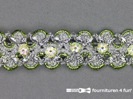 Pailletten band 25mm zilver - lime groen