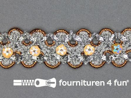 Pailletten band 25mm zilver - oranje
