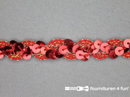 Pailletten band 14mm rood