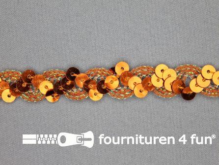 Pailletten band 14mm koper oranje