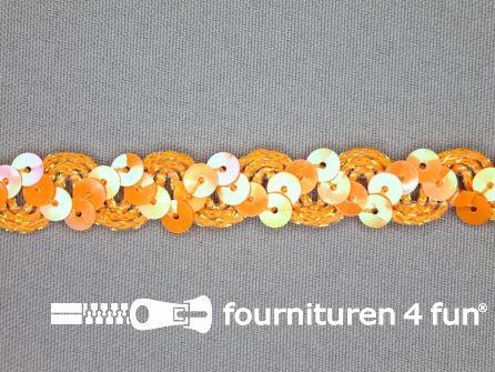 Pailletten band 14mm oranje parelmoer