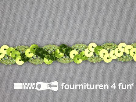 Pailletten band 14mm lime groen