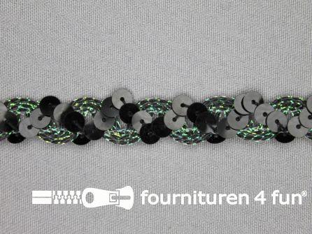 Pailletten band 14mm zwart gras groen
