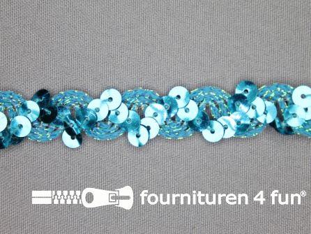 Pailletten band 14mm aqua blauw