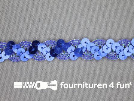 Pailletten band 14mm kobalt blauw