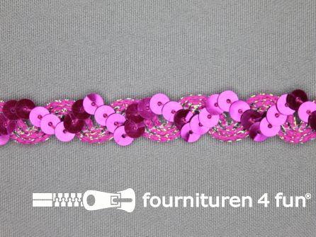Pailletten band 14mm fuchsia roze