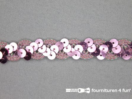 Pailletten band 14mm licht roze